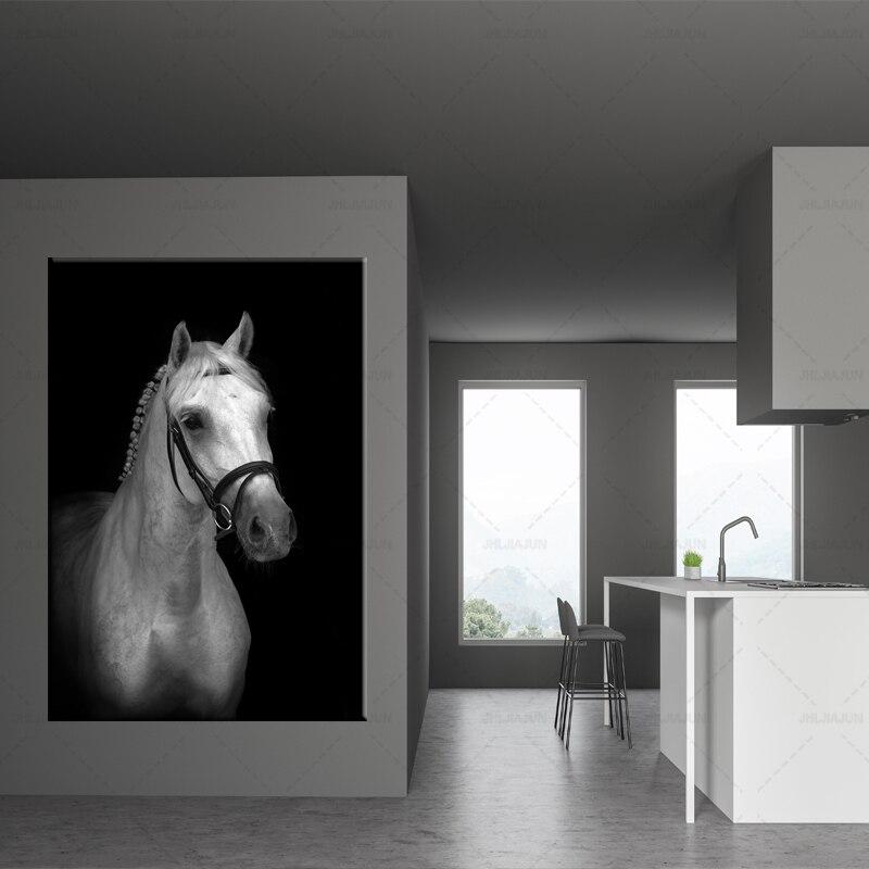 Noir et blanc cheval affiche et impression mur art nordique animal HD photos photo toile peinture moderne salon décor à la maison