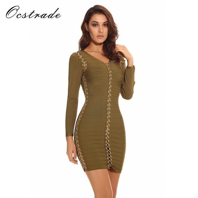 dd9c399cb9 Ocstrade High Quality Women Fashion 2017 Olive Green Chain Lace-up HL  Bandage Dress Long Sleeve Bodycon Wholesale