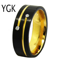 YGK Wedding Jewelry Matte Black With Golden Grooves CZ Tungsten Rings for Men's Bridegroom Wedding Engagement Anniversary Ring