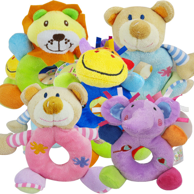 Cow// Elephant Baby Rattle Toys Animal Hand Bells Plush Baby Music Rattle ZY
