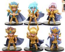 6pcs/set Saint Seiya The Gold Zodiac action figure PVC toys collection doll anime cartoon model for friend gift