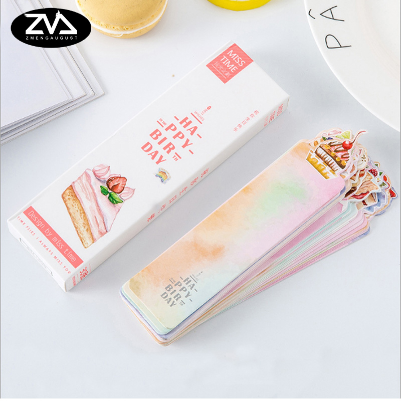 30 pcs/pack Happy birthday blessing card kawaii Paper Bookmark Cartoon Promotional Gift Stationery Bookmark Stationery