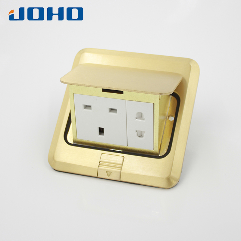JOHO Brass Alloy Panel Fast 5 Hole Fast Pop Up Floor Socket Outlet Box Convenience with 13A 250V UK Socket And 2 Pole Outlet british standard hidden bullet type computer floor power outlet aluminum alloy network english ground socket 250v 13a 120 03