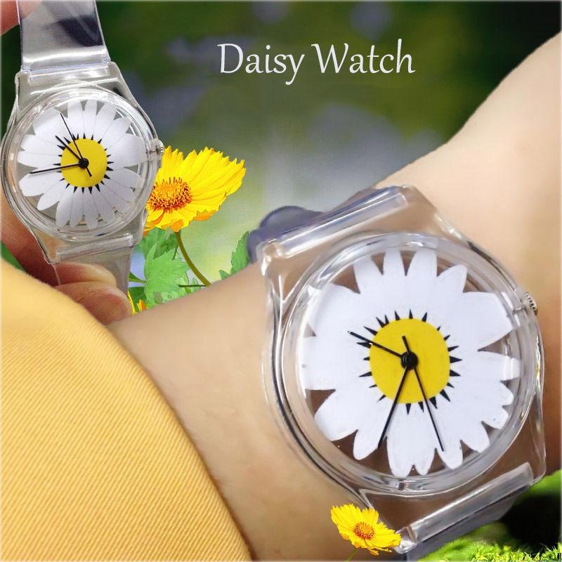 Transparent Silicone Strap High Quality Crystal Quartz Watch Daisy Flower Cartoon Novelty Student /Women Wristwatch