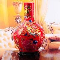 Цзиндэчжэнь фарфоровая ваза Современный Свадебный Подарок в чрезвычайно удачи домашнего интерьера статьи китайский красный фарфоровая ва