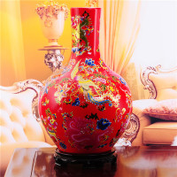 Jingdezhen porcelain vase Modern wedding gift In extremely good fortune home furnishing articles Chinese red porcelain vase
