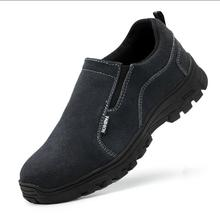 mens fashion large size steel toe cap working safety shoes cow suede leather platform sneakers slip-on tooling security boots big size men fashion breathable steel toe cap working safety shoes genuine leather slip on tooling boots protection footwear