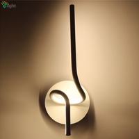 Modern Minimalism Led Bedroom Wall Lamp Novelty Design Painted Curved Aluminium Body Lustre Lamp