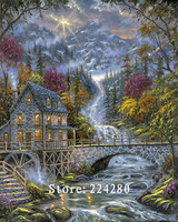 Waterwheel Hut Wood Waterfall Needlework,Embroidery,DIY DMC 14CT Unprinted Cross stitch kits,Arts Pattern Cross Stitching Decor