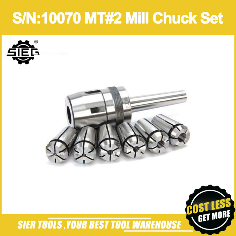 Free Shipping S N 10070 MT 2 Mill Chuck Set Metric SIEG 3 4 5 6