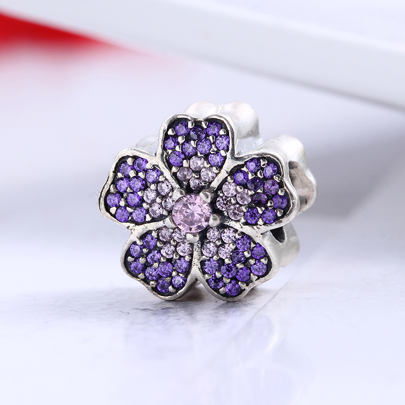 Spring Collection 100% 925 Sterling Silver Fit Original Pandora Bracelet Purple Daisy Pave CZ Charm Beads for Jewelry Making