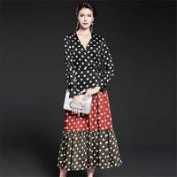 UNIQUEWHO Ladies Women Vintage Dress Polka Dot Print Party Dresses Slim Sexy V Neck Long Sleeve