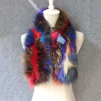 2018 women colorful color real fox fur scarves female knitted shawls and muffler natural fur neckerchief femme free shipping