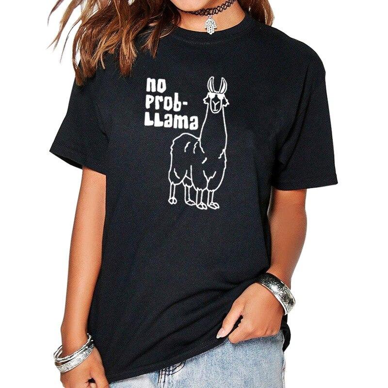 No Prob Llama Letter Print T Shirt Women Short Sleeve O Neck Loose Tshirt 2019 Summer Women Tee Shirt Tops Camisetas Mujer