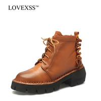 LOVEXSS Woman Genuine Leather Ankle Boots Plus Size 33 43 High Heel Boots Black Brown Autumn