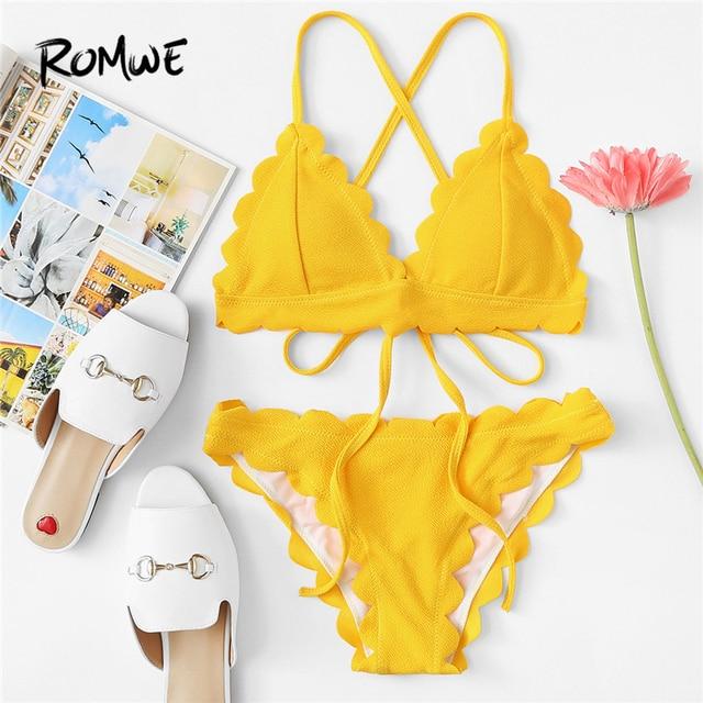 280bc75ce7898 Romwe Sport Yellow Triangle Solid Criss Cross Sexy Scallop Trim Self Tie  Bikini Set 2018 New Summer Beach Sexy Swimwear