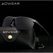 AOWEAR, настоящие алюминиевые солнцезащитные очки без оправы, мужские поляризованные Uv400, высокое качество, зеркальные солнцезащитные очки для мужчин, роскошные Брендовые мужские очки
