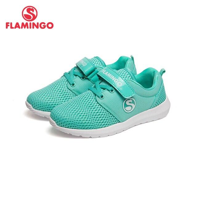 Фламинго натуральная кожа стелька дышащий крюк и петля весна и осень зеленый размер 26-32 детская спортивная обувь для девочек 71K-NQ-0026