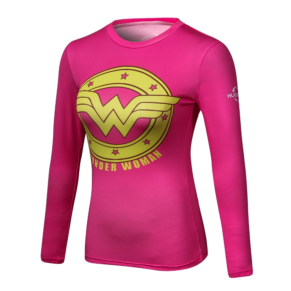 2017 New women Captain America compression long sleeve t shirt fitness elastic clothes tights quick dy thermal base layer tops