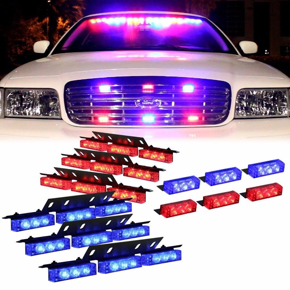 Car Styling 12V 54 LED Emergency Car Strobe Lights Automotive Explosive Car Front Grille Deck Flash Warning Lights Red/Blue blue free shipping red 54 leds car vehicle auto strobe flash emergency lights for front grille deck dc 12v