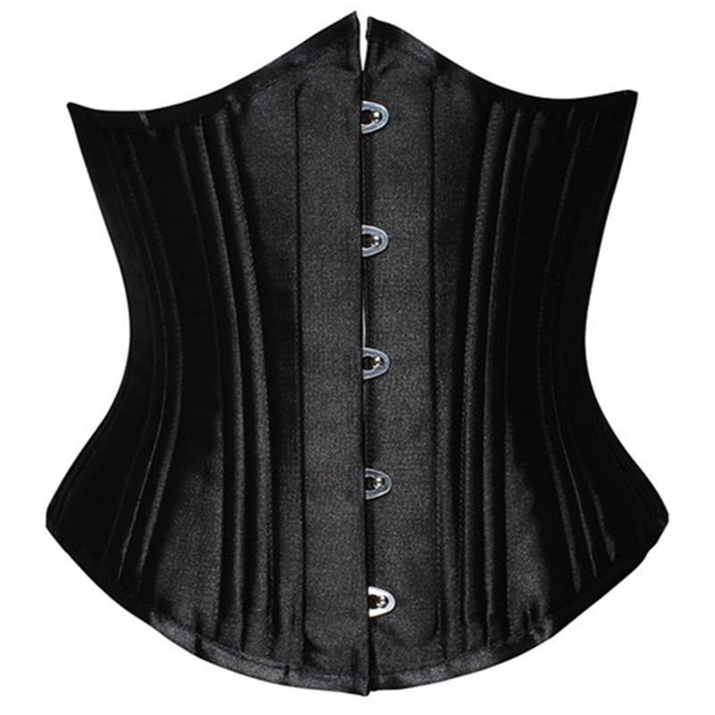Hot women satin   corset   for waist trainning Newest Black waist cincher   corset   Sexy 22 steel bones short underbust   corsets