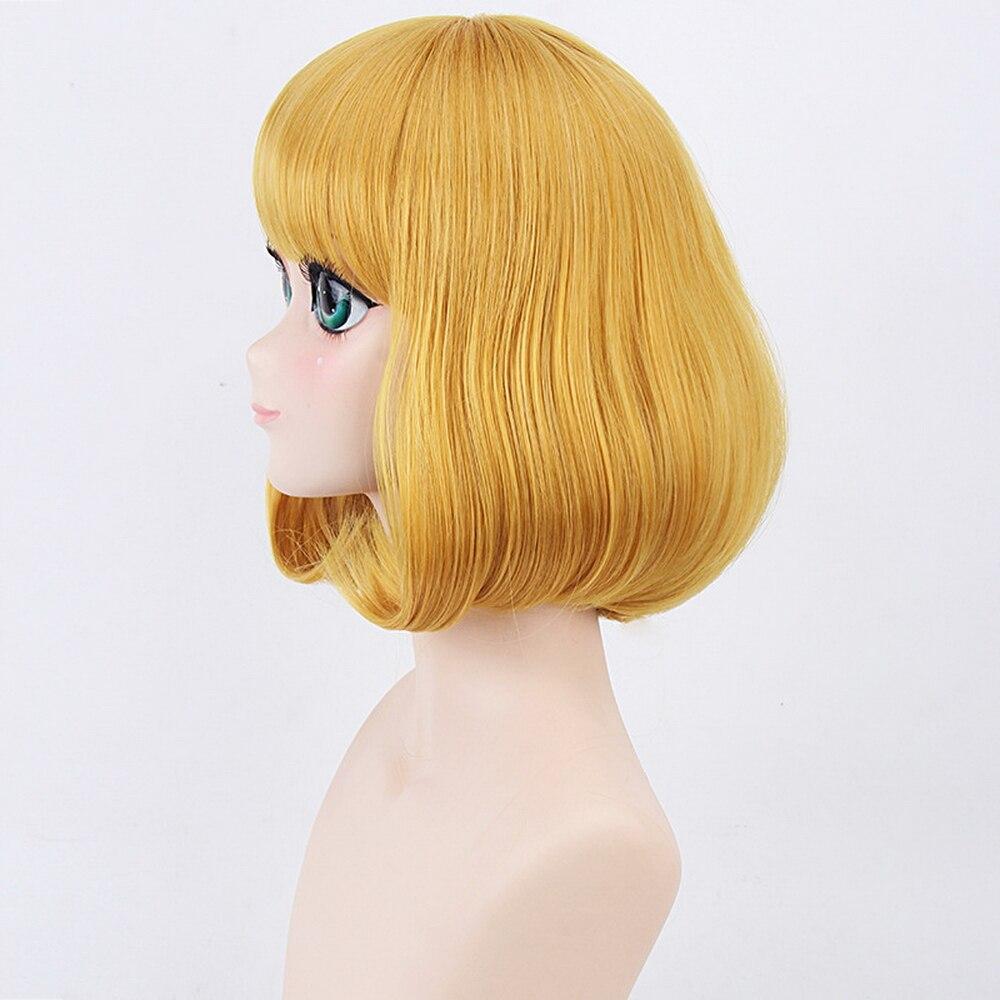 New Midorikawa Hana Golden Blonde Anime Cosplay Wig Short Bob Hairstyle Flat Bangs Prison School Synthetic Full Hair Women