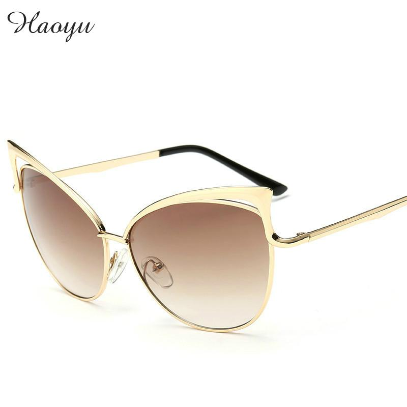 26d20b157fc haoyu CAT eye women sunglasses vintage fashion METAL frame glasses female  brand Golden half frame sun glasses oculos de sol