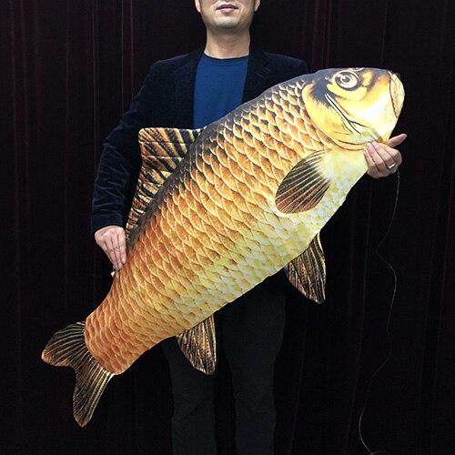 2019 nuevo FISM de magia de Jumbo Pescado en peces (130 cm) trucos para mago etapa ilusiones truco pescado aparecen de aire divertido