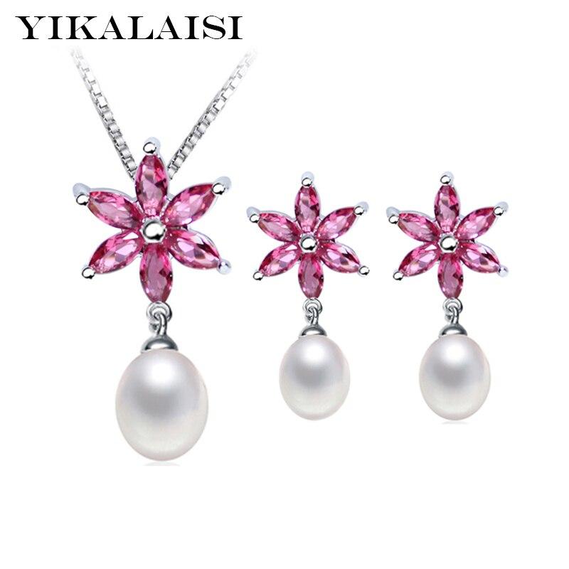 YIKALAISI 2017 100% naturlig sötvattenspärla choker smycken hänge droppe örhängen 925 sterling silver smycken uppsättningar för kvinnor