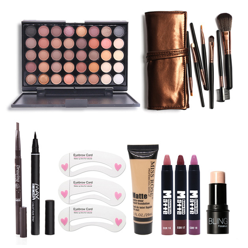 Makup Tool Kit 8 PCS Cosmetics Eyeshadow Matte Lipstick With Foundation Eyeliner Makeup Brush Set 8pcs makeup brushes cosmetics eyeshadow eyeliner brush kit 15 color concealer facial care camouflage makeup palette sponge puff