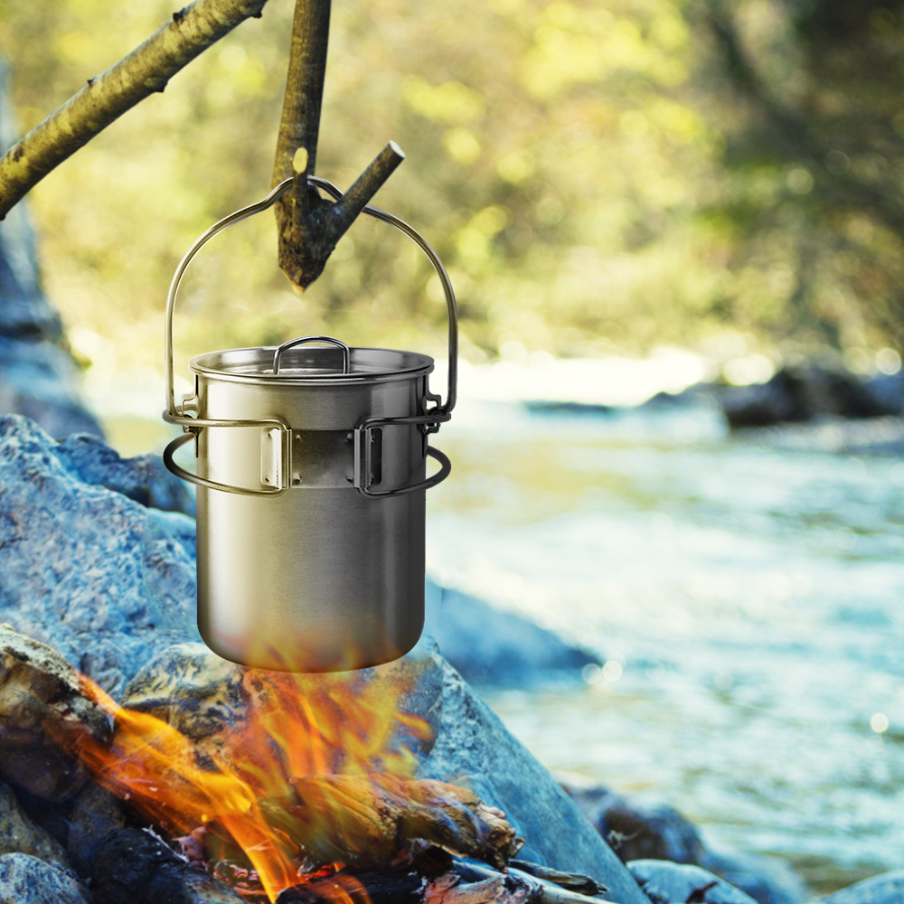 Image 5 - Portable Outdoor Stainless Steel Camping Mug Water Cup with Foldable Handle Outdoor Tableware Camping Hiking-in Outdoor Tablewares from Sports & Entertainment