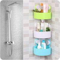 Wall Mounted Sink Corner Storage Rack Suction Space Saving Bathroom Shelf Shower Shampoo Soap Cosmetic Shelves
