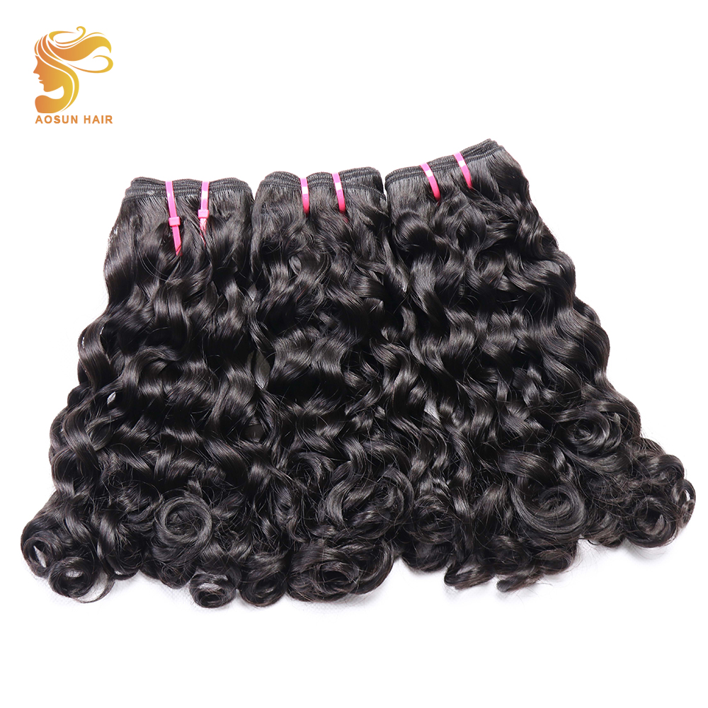 AOSUN HAIR Afro Fumi Double drawn Bouncy Loose Curly 3pcs Natural Color 10 20inch Brazilian Hair
