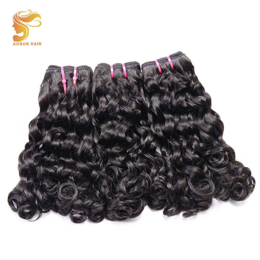 AOSUN HAIR Afro Fumi Loose Double drawn Bouncy Curly 3pcs Natural Color 10-20inch Brazilian Hair Weave Bundles Remy Human Hair