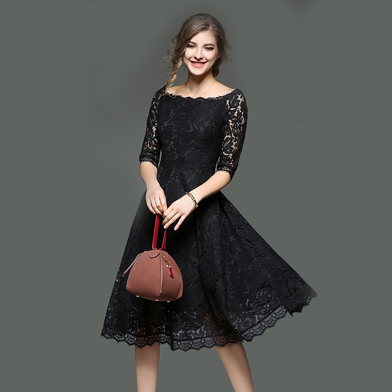 Spring Summer Evening Party Dresses 2018 New Half Sleeve Solid A line Sexy Hollow Out Lace