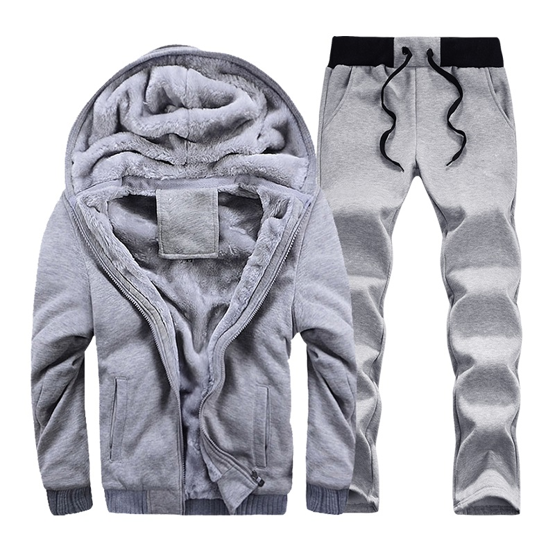 Tracksuit Men Winter Thick Inner Fleece Sets Mens Hat Casual Active Suit Men Zipper Man Outwear 2pc Jacket+pants #4
