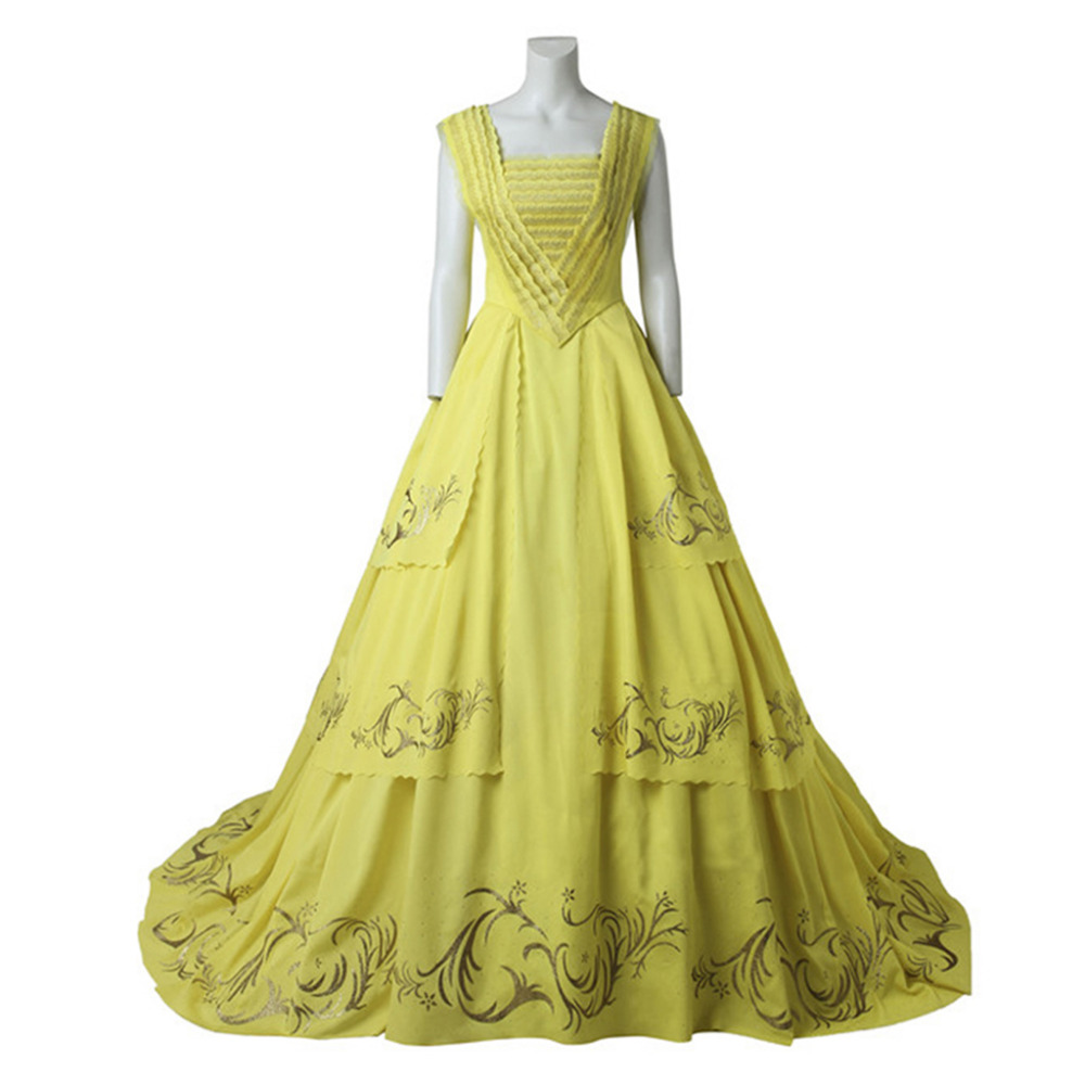 Beauty and the Beast Princess Belle Dress Women Wedding Party Carnival Yellow Flicker Maxi Sleeveless Dress With Bustle