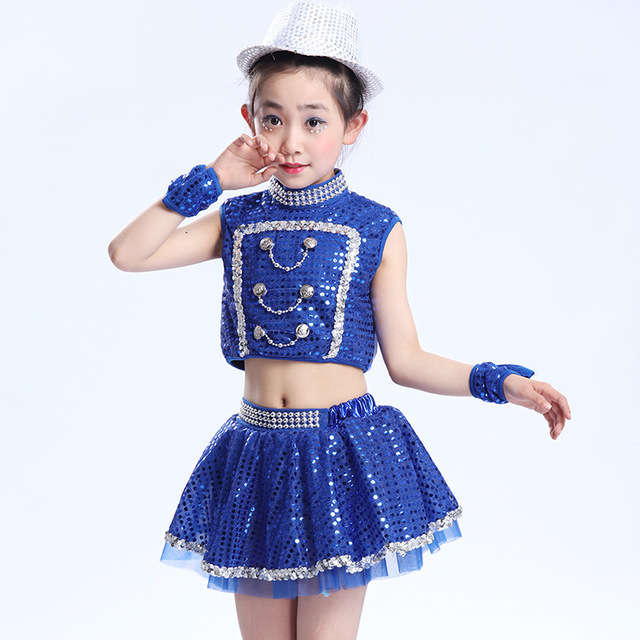 3430ea8dc Niños de Lentejuelas Hip Hop Ropa de Danza Jazz Trajes para Niñas niños  Camisa Tops Shorts