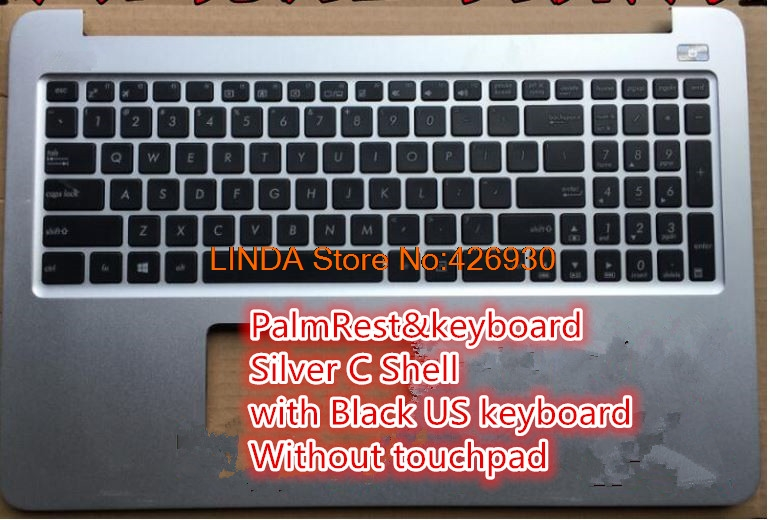 Laptop PalmRest&keyboard For ASUS K501 K501U K501UB K501UQ K501UW K501UX Silver C Shell with Black US keyboard Without touchpad for asus mp 09h63us 528 0kn0 ei1us0212463002413 laptop keyboard