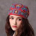 Chinese National Trend Embroidery Hat Fashion Sunscreen Cap Travel All Match Hat Red Blue