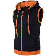 New males's persona hip-hop hooded zipper stitching sleeveless vest Kanjian excessive road