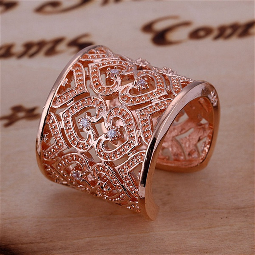 New fashion charm noble silver plated hollow Crystal suspicious female Ring - Rose Gold COLOR women men ring
