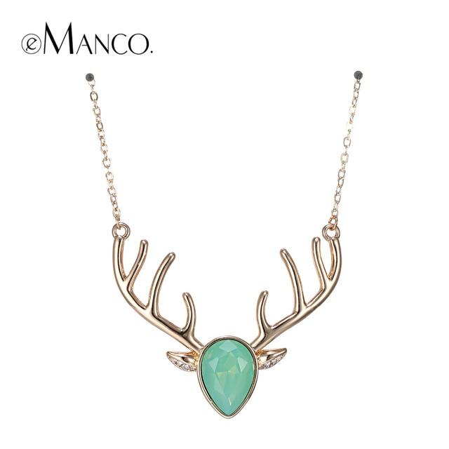 EManco 5 couleurs à la mode exquis Kawaii noël cerf collier ras du cou et pendentif pour les femmes vert cristal opale cuivre fête bijoux