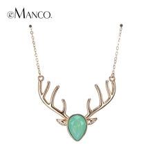 Emanco 5 color de moda exquisita kawaii ciervos navidad choker collar y colgante para las mujeres de cristal verde opal cobre joyería del partido