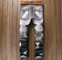 European American Style célèbre marque hommes de luxe de jeans Hommes denim pantalon jeans zipper Slim noir blanc Patchwork jeans pantalon