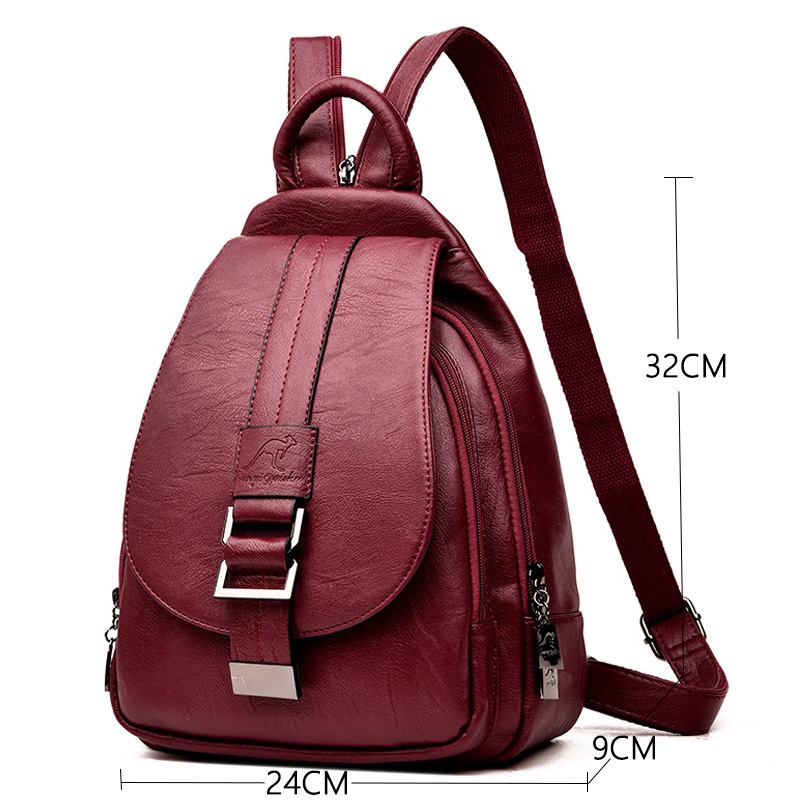 Image 2 - 2019 Designer Backpacks Women Leather Backpacks Female School Bag  for Teenager Girls Travel Back Bag Retro Bagpack Sac a DosBackpacks   -