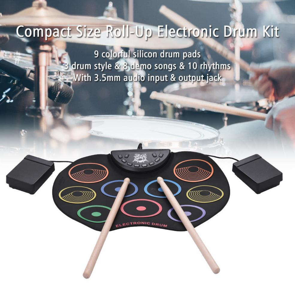 Купить с кэшбэком Electronic Drum Portable Digital USB 9 Pads Colorful Roll up Set Silicone Electric Drum Kit with Drumsticks and Sustain Pedal