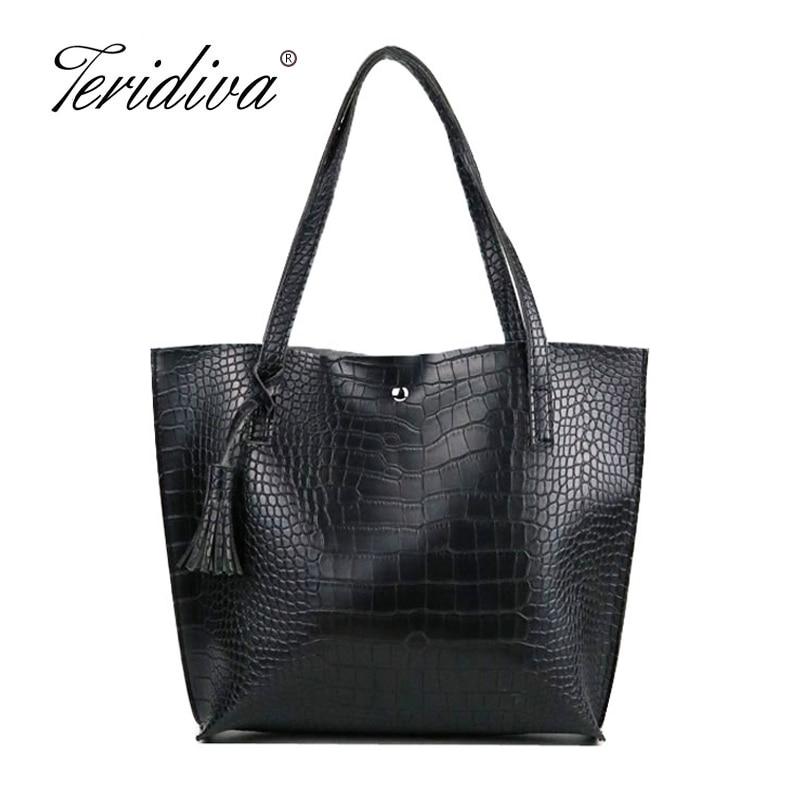 Teridiva Crocodile Handbags Women Shoulder Bags Large Capacity Tote Bag Shopping Bags Tassel Casual Purse Ladies Bag Alligator