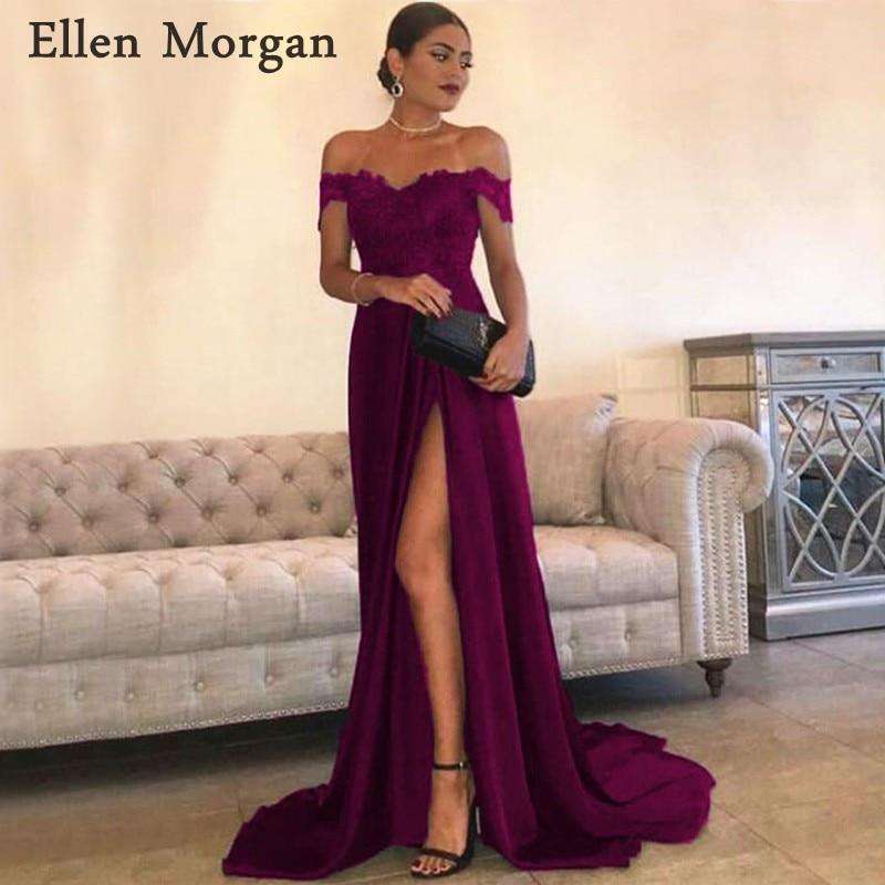 Bleu Royal mousseline de soie robes de bal pour les femmes avec dentelle Appliques Sexy épaule dénudée fente fermeture éclair Occasion spéciale robes de soirée 2019 - 2