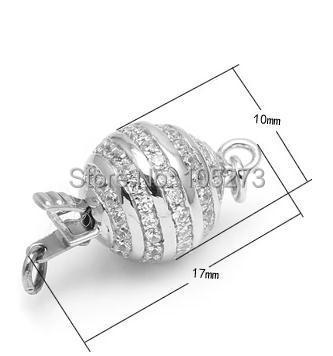Avec fermoir boule en zirconium, 10mm 925 argent bricolage collier en cristal de perle naturelle de haute qualité, fermoir bracelet. -L59B